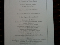 Täglich wechselnde Speisekarten im Royal Scotsman